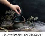 Stock photo magic pot with herbs and witchcraft 1229106091