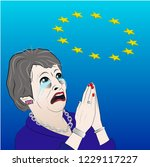 theresa may begging the eu | Shutterstock .eps vector #1229117227