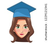 graduate young woman cartoon | Shutterstock .eps vector #1229121541