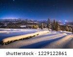 winter night landscape. starry...   Shutterstock . vector #1229122861