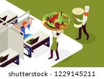 food delivery to office  ... | Shutterstock .eps vector #1229145211