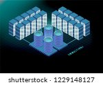isometric banner with bitcoin... | Shutterstock . vector #1229148127