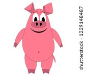 pink pig hilarious on a white... | Shutterstock .eps vector #1229148487