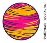 pink yellow planet icon. hand...