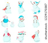set of funny and funny snowmen. ... | Shutterstock .eps vector #1229170387