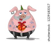 biker pig with ball gift | Shutterstock .eps vector #1229183317
