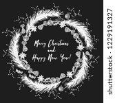 christmas wreath drawn in chalk ... | Shutterstock .eps vector #1229191327