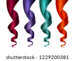 set of colorful wavy strands of ... | Shutterstock .eps vector #1229200381