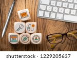 seo strategy with components... | Shutterstock . vector #1229205637