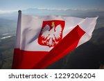 Stock photo polish flag on the background of mountains 1229206204