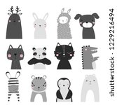black and white set of cute... | Shutterstock .eps vector #1229216494