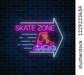 skate zone glowing neon sign...   Shutterstock .eps vector #1229223634