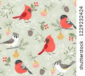 christmas pattern with cute... | Shutterstock .eps vector #1229232424