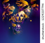 christmas balls with ribbons ... | Shutterstock .eps vector #1229237794