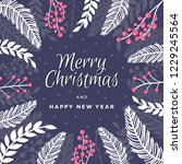 merry christmas and happy new... | Shutterstock .eps vector #1229245564