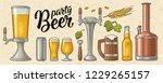 beer set with mug  tap  glass ... | Shutterstock .eps vector #1229265157