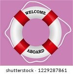 """""""welcome aboard"""" red lifebuoy....   Shutterstock .eps vector #1229287861"""