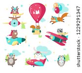 cute animals in pilot hats and... | Shutterstock .eps vector #1229291347
