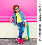 fashion child little girl with... | Shutterstock . vector #1229298757
