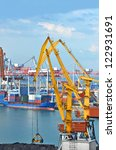 container stack and ship under... | Shutterstock . vector #122931691