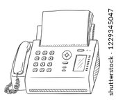 vector sketch fax machine.... | Shutterstock .eps vector #1229345047