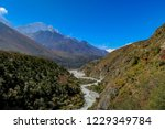 a view down a lush valley in... | Shutterstock . vector #1229349784