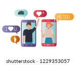 young couple in smartphone... | Shutterstock .eps vector #1229353057