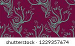 flower doodles seamless pattern.... | Shutterstock .eps vector #1229357674