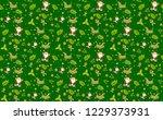 christmas pattern green... | Shutterstock .eps vector #1229373931
