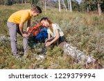 female tourist hurt leg and... | Shutterstock . vector #1229379994