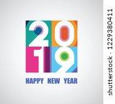 2019 happy new year card design   Shutterstock .eps vector #1229380411