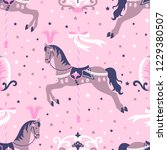 pink carousel horse or pony... | Shutterstock .eps vector #1229380507