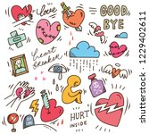 set of heartbreak doodle | Shutterstock .eps vector #1229402611