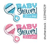 baby shower invitation with... | Shutterstock .eps vector #122940529
