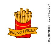 french fries  fried potatoes in ... | Shutterstock .eps vector #1229417107