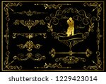 set of golden decoration... | Shutterstock .eps vector #1229423014