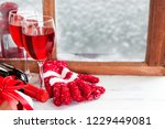 red wine for christmas and... | Shutterstock . vector #1229449081