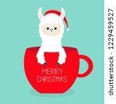 merry christmas. alpaca llama... | Shutterstock .eps vector #1229459527