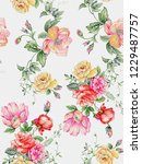 floral summer love illustrations | Shutterstock . vector #1229487757