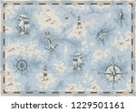 vintage nautical old map... | Shutterstock .eps vector #1229501161