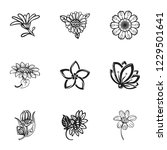 flower plant icon set. simple... | Shutterstock .eps vector #1229501641