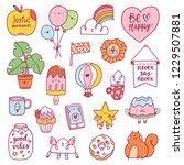 happy doodle characters... | Shutterstock .eps vector #1229507881
