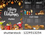 chalk drawning christmas menu...   Shutterstock .eps vector #1229513254