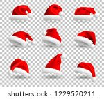 collection of red santa claus... | Shutterstock .eps vector #1229520211