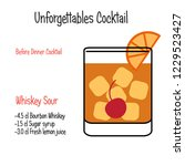 whiskey sour alcoholic cocktail ... | Shutterstock .eps vector #1229523427