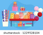 showcase with gift bags ... | Shutterstock .eps vector #1229528104