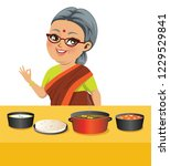 an indian fat old grandmother... | Shutterstock .eps vector #1229529841