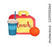 lunch box  juicy orange ... | Shutterstock .eps vector #1229550364