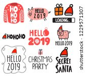 set of icons for happy new year ... | Shutterstock .eps vector #1229571307
