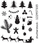 silhouette set of christmas... | Shutterstock .eps vector #122957335